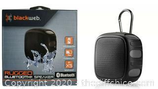 BlackWeb Rugged Bluetooth Speaker, Black, 7hr Battery, IPX5 Splash Proof ☆ New ☆