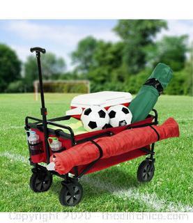 Seina Utility Wagon Cart Lightweight Steel Folding Camping Gardening Groceries