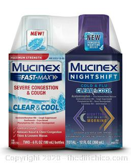 NEW Mucinex Fast-Max Severe Congestion & Cough Clear & Cool, Mucinex Nightshift Cold