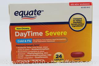 Equate DayTime Severe Max Strength Cold Flu Virus Medicine Non-Drowsy 24 caps