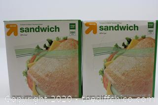 LOT OF 2 NEW Double Zipper Sandwich Bags - 280ct (560 TOTAL)