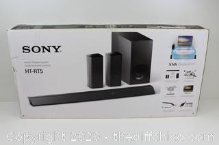 ($599) NEW Sony HT-RT5 Soundbar with 2 Wireless Rear Speakers (550 W, S-Master HX, Clear Audio Plus, Dolby TrueHD, DTS-HD, Bluetooth, Wi-Fi and NFC)