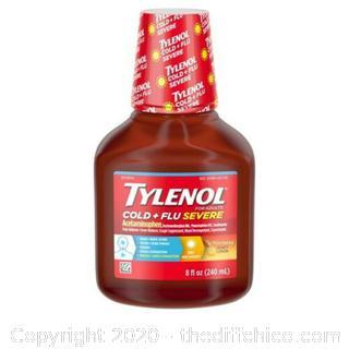 NEW Tylenol Cold + Flu Severe Honey Lemon Liquid, 8 oz EXP 2/22