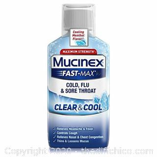 NEW Mucinex Fast-Max Clear - Cool Cold, Flu, - Sore Throat Liquid 6 oz