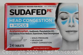SUDAFED PE Head Congestion + Mucus - 24 Tablets Non Drowsy Exp 06/21
