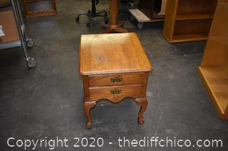 2 Drawer Oak Ball / Claw Foot End Table