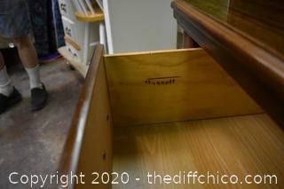 2 Piece Bassett Hutch w/glass shelves and lights