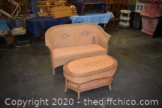 Rattan Love Seat plus Table