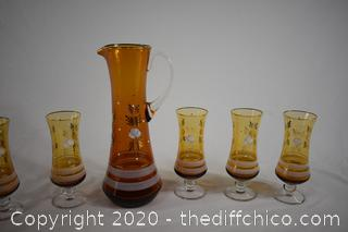 Hand Painted Drink Set-6 glasses plus pitcher