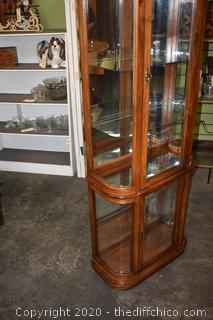 Curved Glass Curio Cabinet w/glass shelves