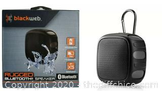 BlackWeb Rugged Bluetooth Speaker, Black, 7hr Battery, IPX5 Splash Proof ☆ New ☆