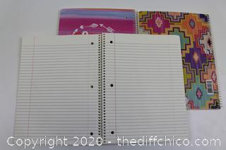 LOT OF 3 NEW 1 SUBJECT NOTEBOOKS