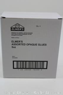 LOT OF 4 Elmer's Blue Washable Color Glue Safe and Nontoxic Great for Slime