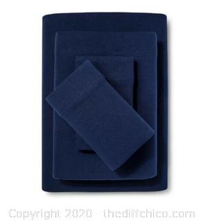 Room Essentials Jersey Sheet Set Solid Navy XL Twin NEW