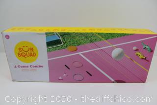 4 Game Combo Set - Sun Squad Badminton Volleyball MIt Discs