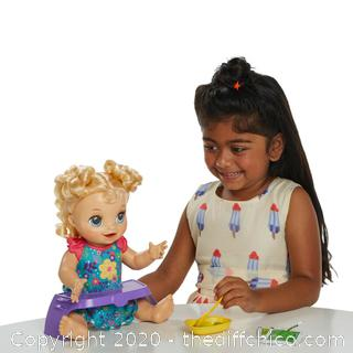 BRAND NEW Baby Alive Happy Hungry Baby Blonde Curly Hair Doll Eats Poops Talks w/ BONUS