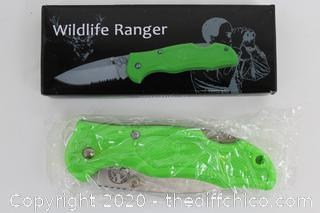 "NEW WILDLIFE RANGER 3"" Zombie Green Locking Knife - Boot or Pocket"