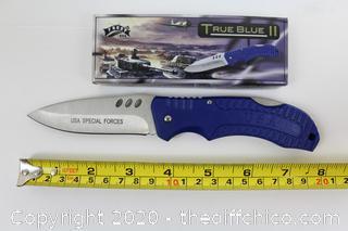 "NIB 4.5"" True Blue II USA Special Forces Folding Frost Cutlery knife"