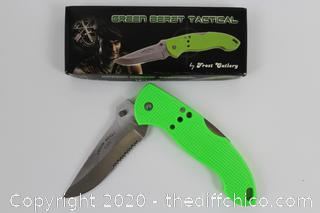 """NEW 4.5"""" Stainless Steel Green Beret Tactical Pocket Knife Frost Cutlery Lockback"""