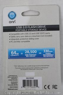 BRAND NEW 64GB USB 2.0 Flash Drive Thumb Drive Storage Device Black