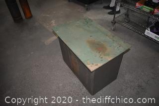 3 Drawer Metal Cabinet w/wood top
