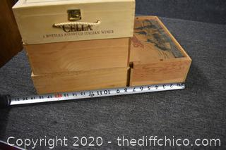 4 Wooden Wine Boxes