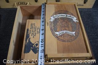 6 Wooden Wine Boxes