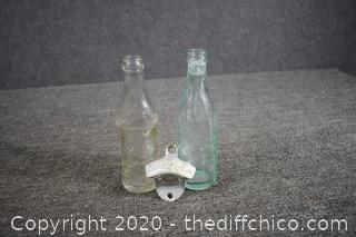 2 Vintage Soda Bottles plus Drink Coca Cola Bottle Opener
