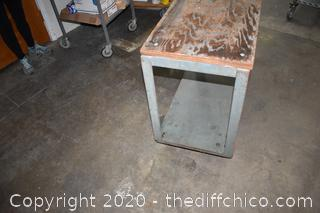 Rolling Metal Table with Wood Top