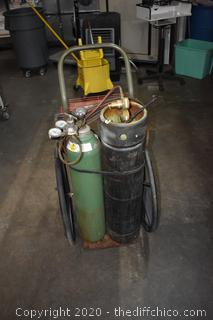 Acetylene Tank, Torch and Stand