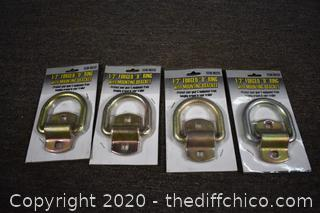 4 NIB 1/2in 'D' Ring with bracket