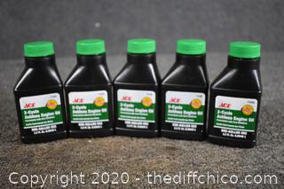 5 Bottles of 2-Cycle Ashless Engine Oil