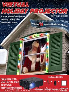 MR CHRISTMAS INDOOR VIRTUAL HOLIDAY MOVIE WINDOW PROJECTOR W/ REMOTE Christmas