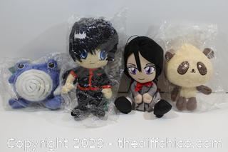 LOT OF 4 NEW ANIME PLUSH LOT BANDAI AND TOMY