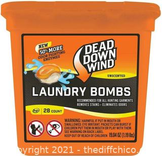 """NEW Dead Down Wind """"Laundry Bombs"""" 28 Count Pack Odor Elimination Hunting Garments"""