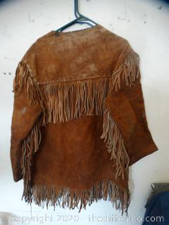 Leather Fringe Pullover  Coat