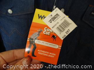NWT Wrangler 2xlt Snap up Shirt, Light Jacket