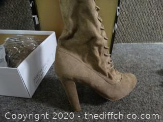 Taupe Sued Boots 7.5
