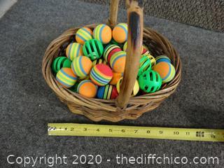 Basket w cat toys
