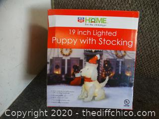 """!9"""" lighted Puppy with  stocking"""