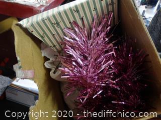 "Pink 42"" Fiber Optic Foil Tinsel Tree"