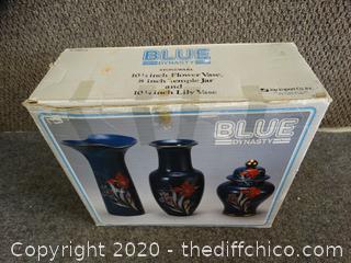 Blue Dynasty Vase & Jar Set