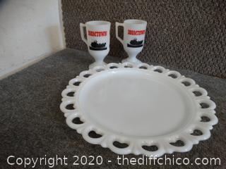 2 Boomtown Cups & 1 Milk Glass Dish