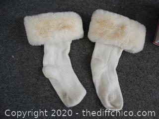 White Fur Booties