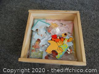 Wooden Box With Lid With puzzles
