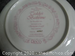 "Numbered ""Teddys Bathtime  ""  Plate"