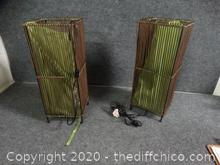 2 Green Pillar Lights