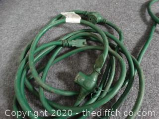 2 Green Extension Cords