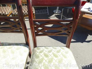 3 Chairs With Green Leafs