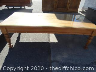 Wooden Coffee Table w Glass Top